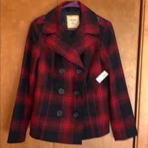 NWT Women's red/navy plaid wool blend pea coat - L